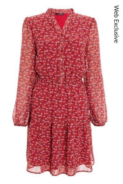 Berry Floral Skater Dress